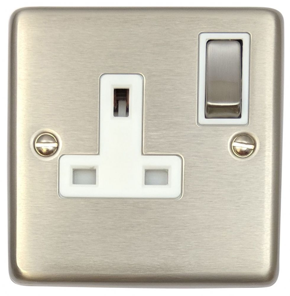 G&H CSS209 Standard Plate Brushed Steel 1 Gang Single 13A Switched Plug Socket